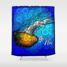 Ocean jellyfish photo bubble art | Go with the flow Shower Curtain