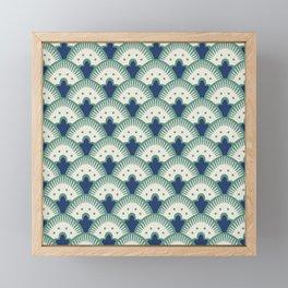Fan Pattern Blue/Green Framed Mini Art Print