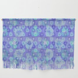 Lotus flower - pool blue woodblock print style pattern Wall Hanging