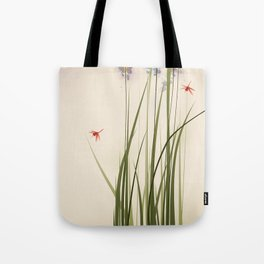 oriental style painting, tall grasses and flowers Tote Bag