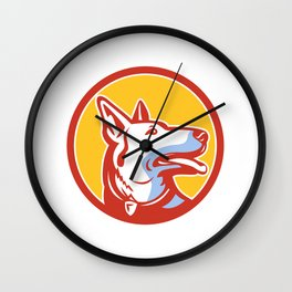 Police Dog Circle Mascot Wall Clock