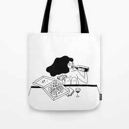 girl drinking wine eating pizza Tote Bag