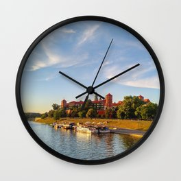 Magical Wawel Castle in Krakow - view from the bridge Wall Clock