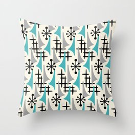 Mid Century Modern Atomic Wing Composition Blue & Grey Throw Pillow