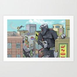 Rocket Boy vs Death Gorilla Art Print