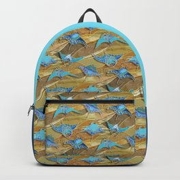Patchwork Manta Rays in Turquoise and Golden Sand Backpack