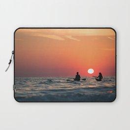 man woman boat rowing in sea Laptop Sleeve