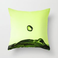 Green water drops Throw Pillow