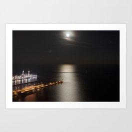 Navy Pier Moonlight Art Print