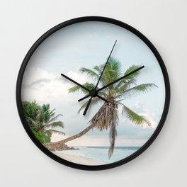 Lonely Palmtree at paradise beach La Digue Seychelles  Wall Clock