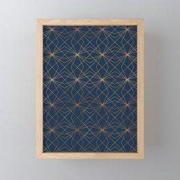 Navy & Copper Geo Lines Framed Mini Art Print