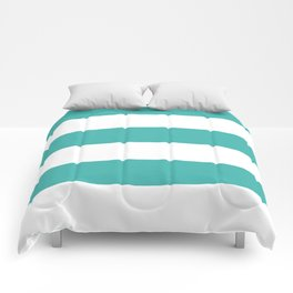 Wide Horizontal Stripes - White and Verdigris Comforters