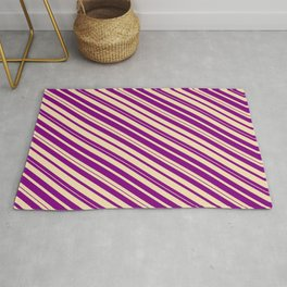 Purple & Tan Colored Lines/Stripes Pattern Rug