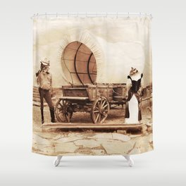 Old West Cowboy Cat and his Gal Shower Curtain