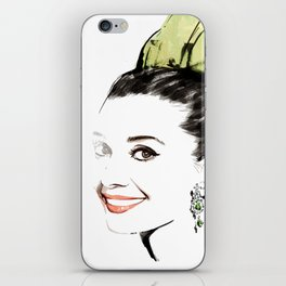 Classical Beauty, Fashion Painting, Fashion IIlustration, Vogue Portrait, Black and White, #13 iPhone Skin