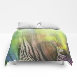 Waterfall of colors - abstract landscape watercolor monotype Comforters
