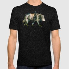 Wolf is the Pride of Nature LARGE Tri-Black Mens Fitted Tee