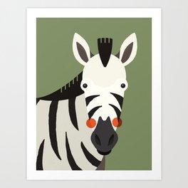 Zebra, Animal Portrait Art Print