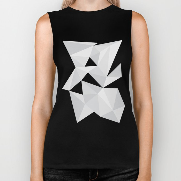 White Deconstruction Biker Tank