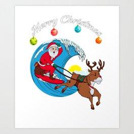 Surfing Merry Christmas Art Print