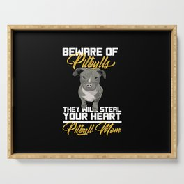 Cute Beware Of Pitbull Dog Lover Stafford Gift Serving Tray