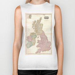 Vintage Map of The British Isles (1818) Biker Tank