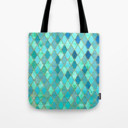 Aqua Teal Mint and Gold Oriental Moroccan Tile pattern Tote Bag