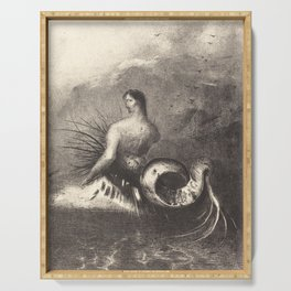 Vintage Merman Drawing - Odilon Redon Serving Tray