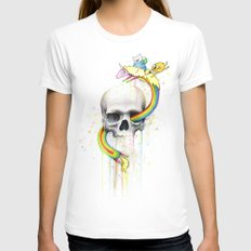 Adventure through Time and Face White Womens Fitted Tee X-LARGE