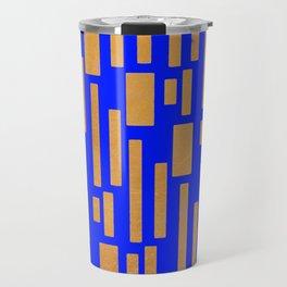 Abstract Bamboo Blue Gold Mid-Century Travel Mug
