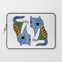 Psychodelic blue art cat with big eye Laptop Sleeve