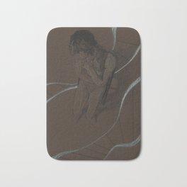 Man Figure Pencil Charcoal Drawing Realistic Minimalist Conceptual Symbolist Art Dark Brown Art Print Bath Mat