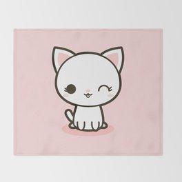 Kawaii Kitty 3 Throw Blanket