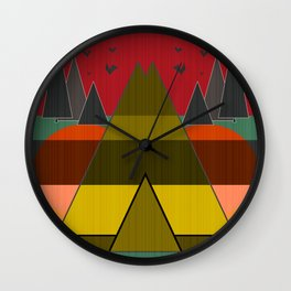 Abstract pattern . Mountains. Wall Clock