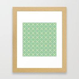 Green yellow geometrical diamond polka dots pattern Framed Art Print