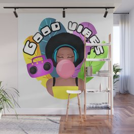 Afro girl with headphones and chewing gum listening music Wall Mural