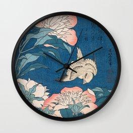Katsushika Hokusai - Peonies and Canary, 1834 Wall Clock