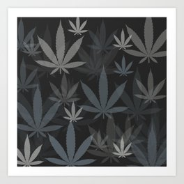Marijuana Cannabis Weed Pot Grey Tones Art Print