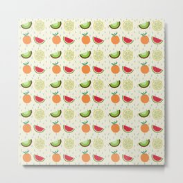 Summer Tropical Fruits Pattern Metal Print