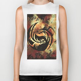Yin and Yang Dragons Artwork Biker Tank