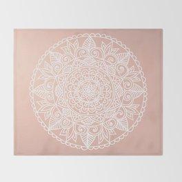 White Mandala on Rose Gold Throw Blanket