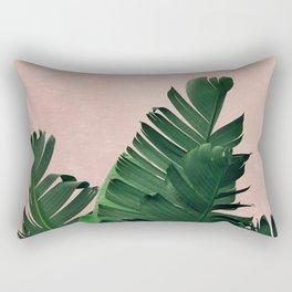 Banana Leaves on Pink Rectangular Pillow
