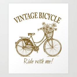 Vintage Bicycle With Sunflower Basket Art Print