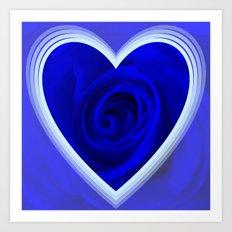 Rose in Heart,blue Art Print