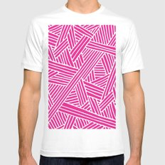 Abstract pink & white Lines and Triangles Pattern-Mix and Match with Simplicity of Life White MEDIUM Mens Fitted Tee