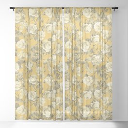 Summer Vintage Roses in Golden Mustard Yellow, Retro Rose Garden, Floral French Country Pattern Sheer Curtain