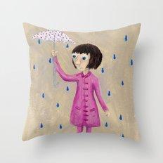 Girl In Rain Throw Pillow