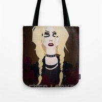 "rock n roll Tote Bags featuring Rock 'n Roll ""Beauty"" by joeyj"