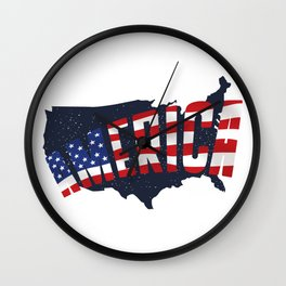 4th Of July Independence Day American Flag & Map Wall Clock