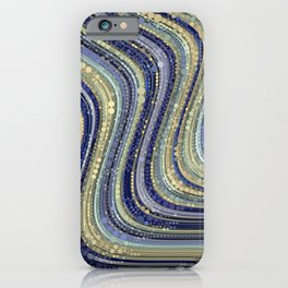 mae - wavy abstract design periwinkle navy blue soft yellow iPhone Case